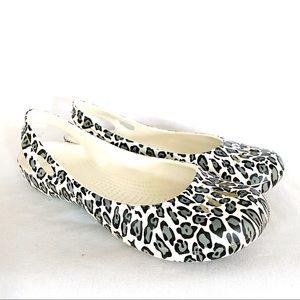 Crocs leopard cheetah balet flats shoes sz 9 EUC